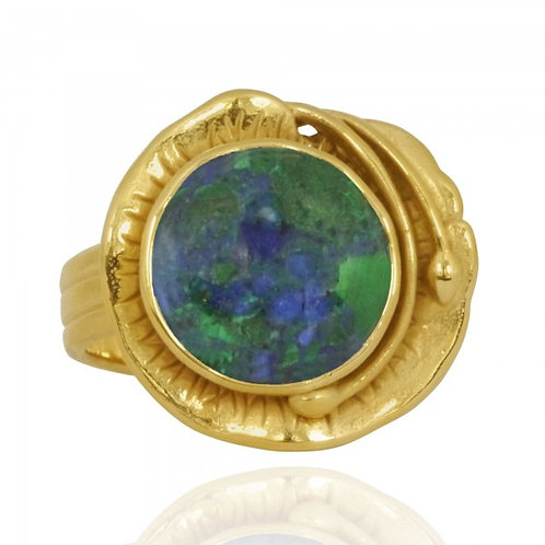 [NRB8800-AZM-G] Golden Flower Ring with Round Azurite Malachite