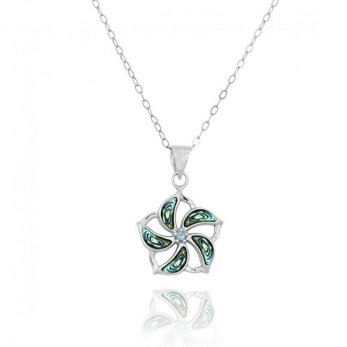[NP11324-ABL-SWBLT] Hibiscus Shaped Sterling Silver Pendant with Abalon shell St