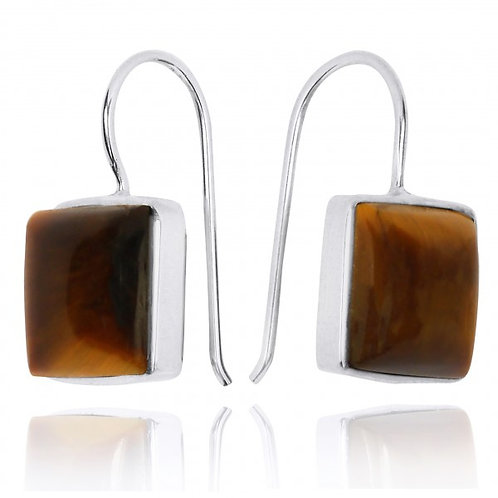[NEA2411-BRTE] Square Shape Tiger Eye Drop Earrings