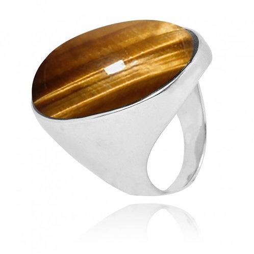 [NRB5973-BRTE] Oval Shape Brown Tiger Eye Statement Ring