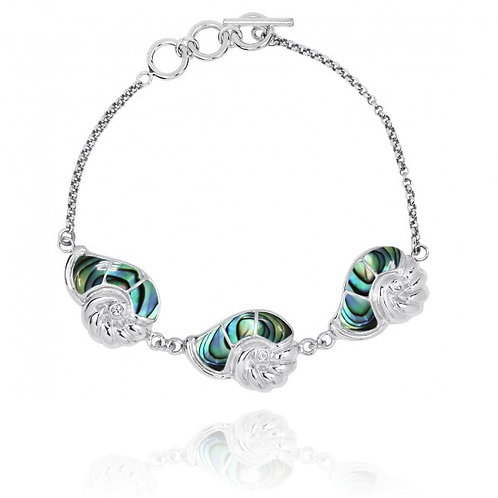 [NB1457-ABL-CRS] Sterling Silver Seashell with Abalon and Crystal Chain Bracelet