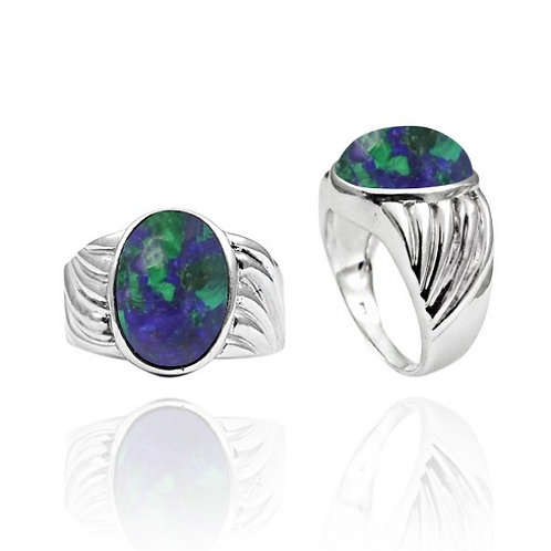 [NRB6704-AZM] Heart Shape Azurite Malachite Cocktail Ring