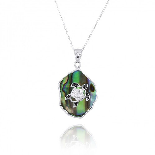 [NP11323-ABL-BKSP] Abalon shell Pendant with Sterling Silver Turtle and Black Sp