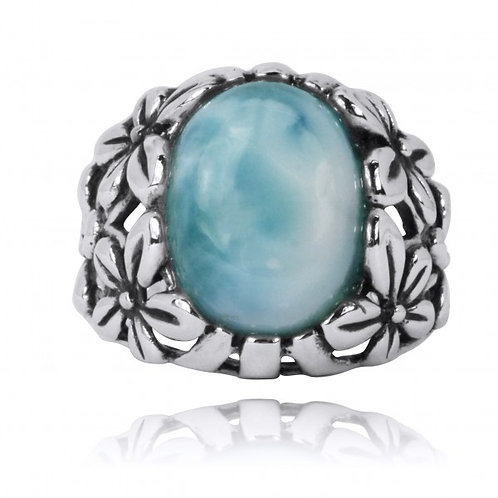 [NRB6067-LAR] Oxidized Silver Floral Ring with Larimar