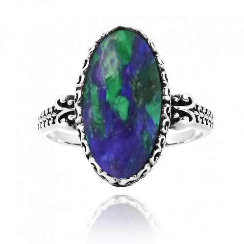 [NRB5213-AZM] Oval Shape Azurite Malachite Solitaire Ring