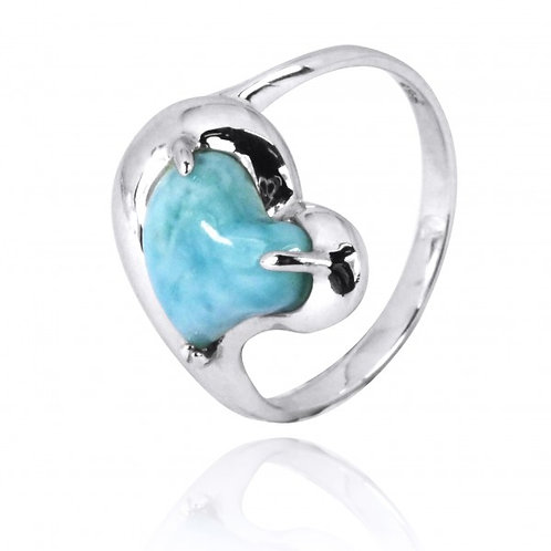 [NRB6639-LAR] Heart Shape Larimar Cocktail Ring