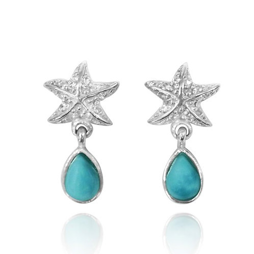 [NES3696-LAR-WHT] Sterling Silver Starfish Stud Earrings with Round Larimar and