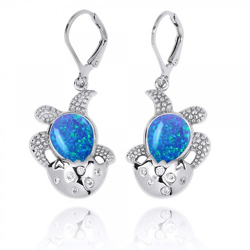 [NEA3105-BLOP-WHCZ] Sterling Silver Egg and Turtle with Blue Opal Lever Back
