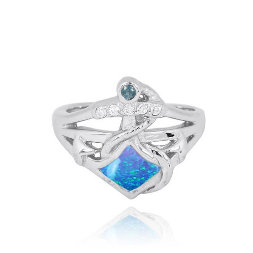 [NRB6918-BLOP] Sterling Silver Anchor Ring with London Blue Topaz and White CZ