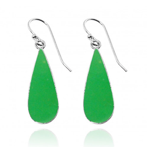 [NEA1237-CRP] Pear Shape Chrysoprase Drop Earrings