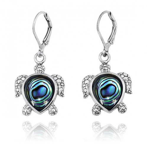 [NEA2793-ABL] Sterling Silver Turtle Lever Back Earrings with Abalon shell