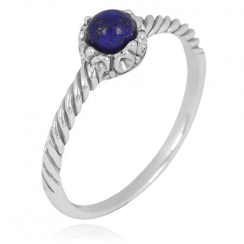 [NRB7355-LAP] Round Shape Lapis Solitaire Ring
