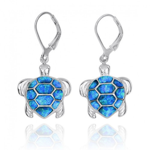 [NEA3140-BLOP] Sterling Silver Turtle with Blue Opal Lever Back Earrings