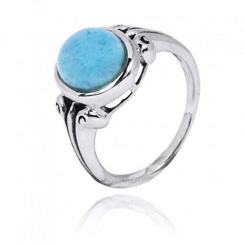 [NRB3631-LAR] Oval Shape Larimar Gemstone Ring