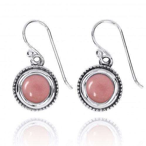[NEA2710-PPKOP] Round Shape Peru pink opal Drop Earrings