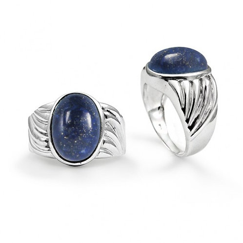 [NRB6704-LAP] Heart Shape Lapis Lazuli Cocktail Ring