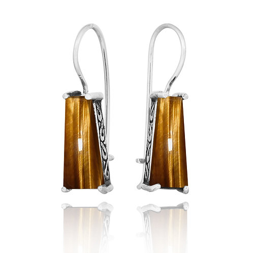 [NEA1496-BRTE] Trapezoid Shape Tiger Eye Lever Back Earrings