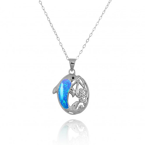 [NP11314-BLOP-BKSP] Sterling Silver Dolphin Pendant with Blue Opal