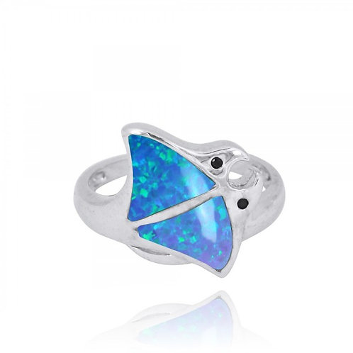 [NRB8363-BLOP-BKSP] Sterling Silver Stingray Ring with Blue Opal and Black Spine
