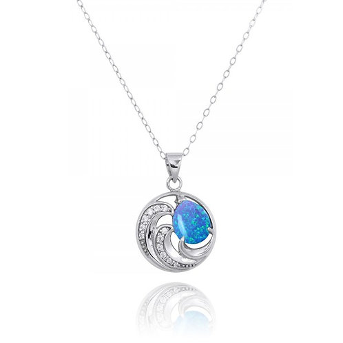 [NP11327-BLOP-CZ] Sterling Silver Wave Pendants with Blue opal and White CZ