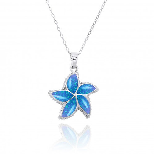 [NP11010-BLOP] Sterling Silver Starfish with Blue Opal Pendant