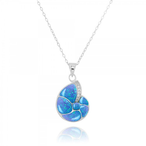 [NP10447-BLOP-WHCZ] Sterling Silver Seashell Pendant with Blue Opal and White CZ