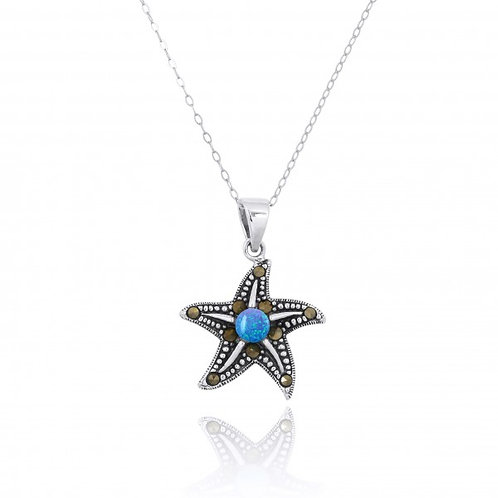 [NP11023-BLOP-MRC] Sterling Silver Starfish Pendant with Marcasite and Round Blu