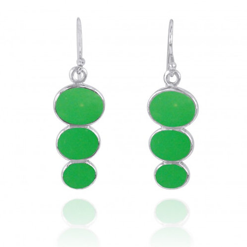 [NEA0331-CRP] Triple Oval Chrysoprase Sterling Silver Drop Earrings