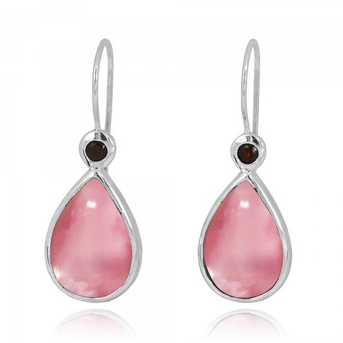 [NEA2189-PPKOP-GAR] Pear Shape Peru pink opal French Wire Earrings