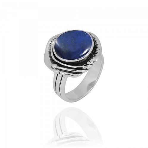 [NRB8800-LAP] Round Shape Lapis Lazuli Cocktail Ring