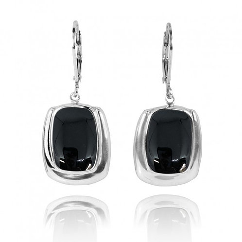 [NEA3086-BKON] Cushion Shape Black Onyx Lobster Clasp Earrings