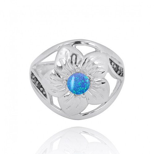 [NRB8364-BLOP] Sterling Silver Hibiscus Ring with Round Blue opal and Black Spin