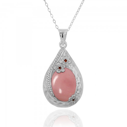 [NP11611-PPKOP] Sterling Silver Teardrop Pendant with Peru pink opal and Garnet