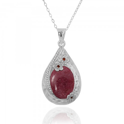 [NP11611-RDN] Sterling Silver Teardrop Pendant with Rhodonite and Garnet Flow