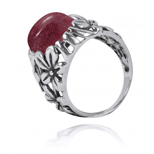 [NRB6067-RDN] Oxidized Silver Floral Ring with Rhodonite
