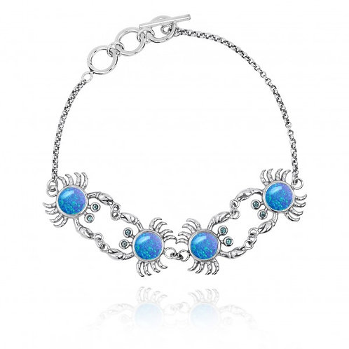 [NB1436-BLOP-SWBLT] Sterling Silver Crab with Blue Opal Chain Bracelet