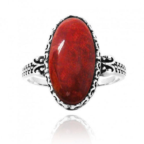 [NRB5213-SPC] Oval Shape Sponge Coral Solitaire Ring