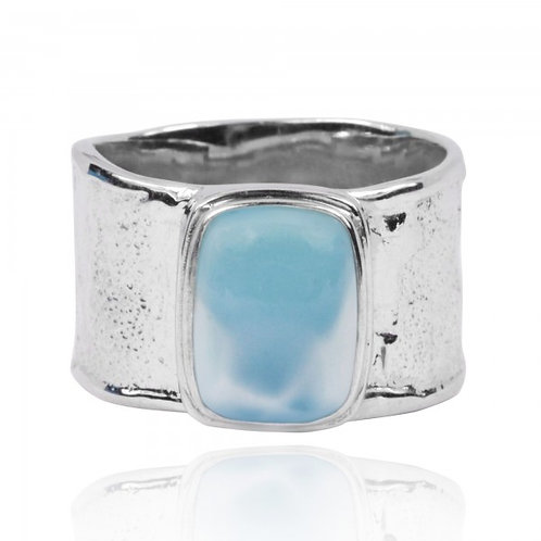 [NRB6141-LAR] Hammered Sterling Silver Israeli Style Cushion Shaped Larimar Ring