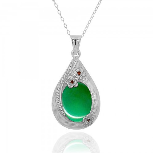 [NP11611-CRP] Sterling Silver Teardrop Pendant with Chrysoprase and Garnet Flowe