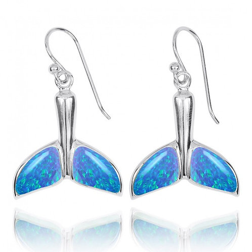 [NEA3316-BLOP] Sterling Silver Whale Tale with Blue Opal French Wire Earrings