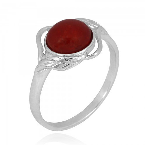 [NRB7481-SPC] Sterling Silver Sponge Coral Ring with Leaf Patterns