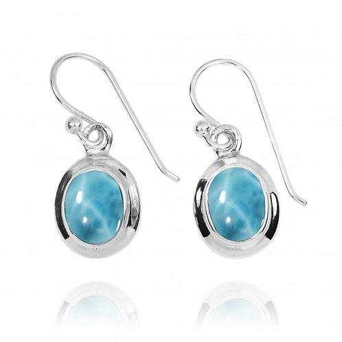 [NEA3272-LAR] Oval Shape Larimar Drop Earrings