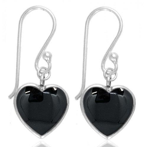 [NEA0242-BKON] Heart Shape Black Onyx Drop Earrings