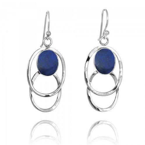 [NEA1852-LAP] Double Silver Oval Hoop Drop Earrings with Lapis