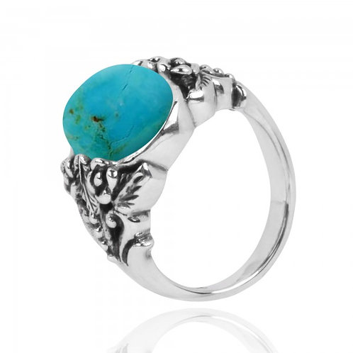 [NRB5097-GRTQ] Oval Shape Compressed Turquoise Statement Ring