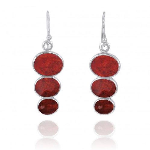 [NEA0331-SPC] Triple Oval Sponge Coral Sterling Silver Drop Earrings