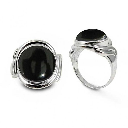 [NRB6617-BKON] Sterling Silver Ring with Round Black Onyx