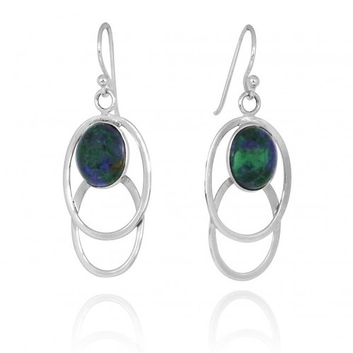 [NEA1852-AZM] Double Sterling Silver Oval Drop Earrings with Oval Azurite Malach