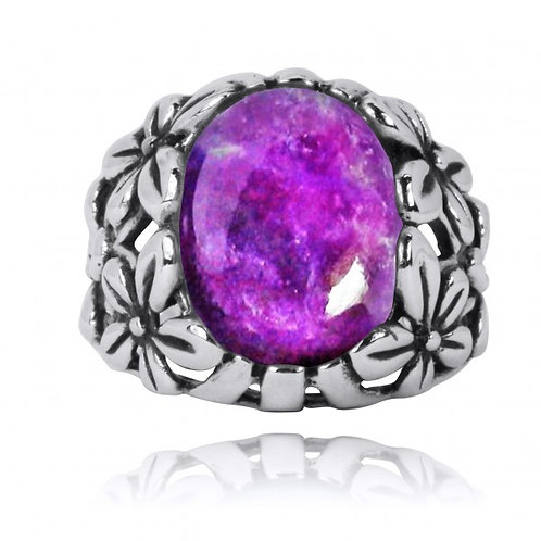 [NRB6067-SUG] Oxidized Silver Floral Ring with Sugilite