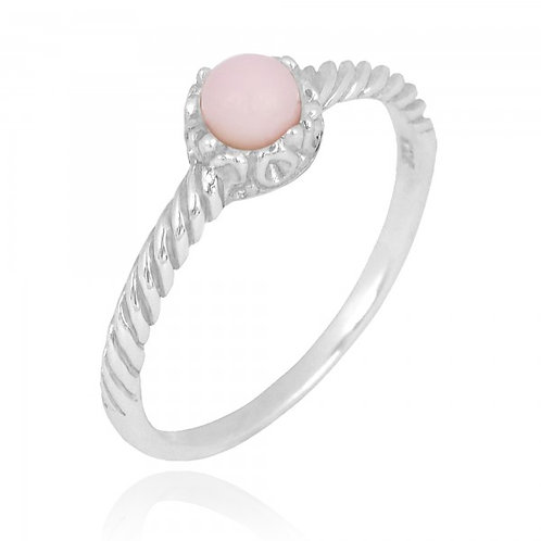 [NRB7355-PPKOP] Round Shape Peru Pink Opal Solitaire Ring